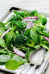 Healthy green salad with seeds and broccoli