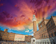 Wonderful wideangle view of Piazza del Campo in Siena, Italy