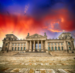 Wonderful view of Berlin Reichstag from Republic Square - German