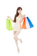lovely asian woman with shopping bags