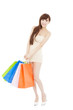 happy and  lovely asian woman with shopping bags