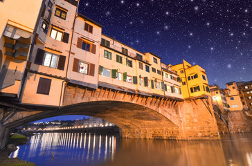 Gorgeous view of Old Bridge, Ponte Vecchio in Florence at sunset