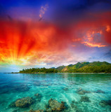 Fototapety Beautiful island view from the Ocean