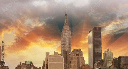 Wonderful view of Manhattan Skyscrapers with beautiful sky color - 60047302