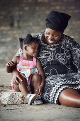 African mother and daughter