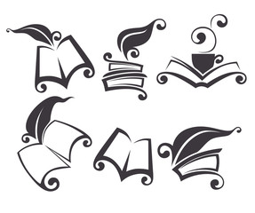 vector collection of old books, reading and history symbols