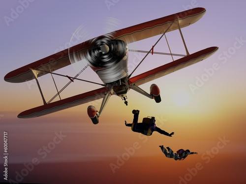 Parashutist  and Plane