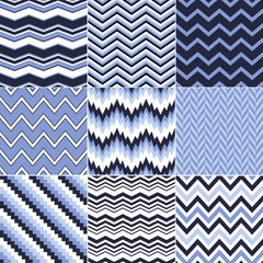 seamless chevron wave blue background set