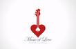 Romantic Guitar - Music of Love Valentine party logo design