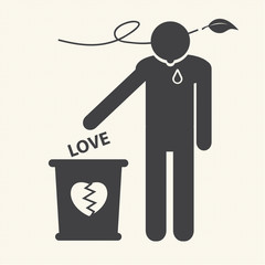 Broken heart and dropped Love into the trash. Vector