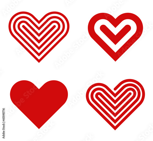 Heart logo design collection. Valentine's day. Love, Cardio icon - 60048716