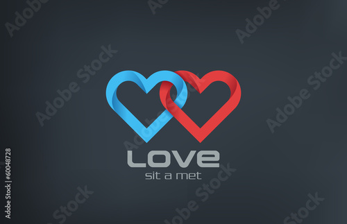 Logo couple 2 Hearts loop locked design. Valentines day