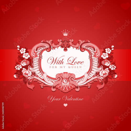 Vintage Valentine's day greeting card vector design