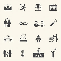Valentine's Day and First Love Icons. Vector icon set.