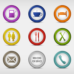 Set of colored round web icons for service