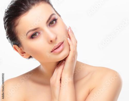 Beautiful Girl Touching Her Face. Beauty Face.