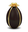 Chocolate Easter Egg with Golden Bow on white background