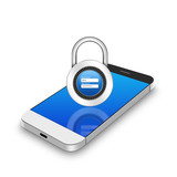 padlock username password on smartphone,cell phone illustration poster