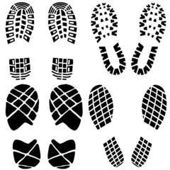 Set of black footprints