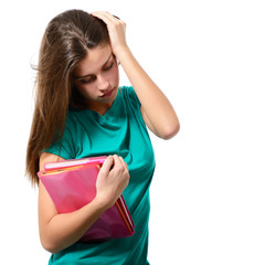 depression tired teen school girl cried lonely with books isolat