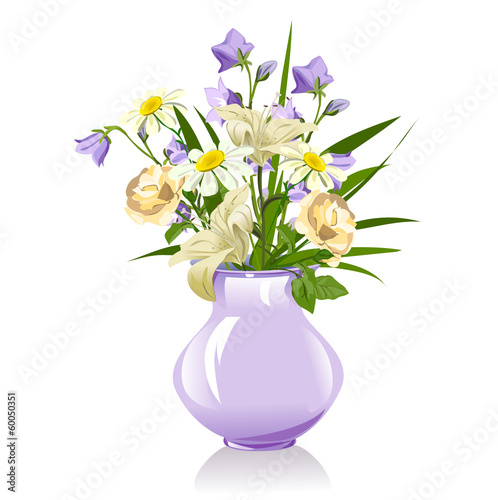 bouquet of lilies, bluebells, daisies and roses