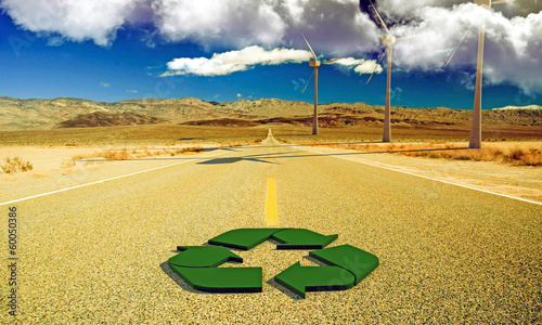 recycle sign on a desert road