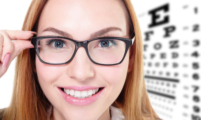 woman with glasses and eye test chart