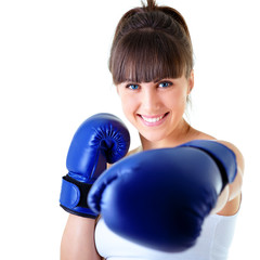 sport young woman happy smiling in boxing gloves, face of fitnes
