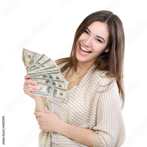 Cheerful attractive young lady holding cash and happy smiling ov