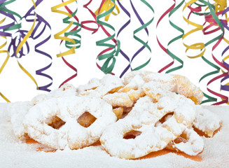 """Typical Italian dessert for carnival, """"chiacchiere"""" fries with t"""