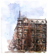 Quadro watercolor illustration of city scape