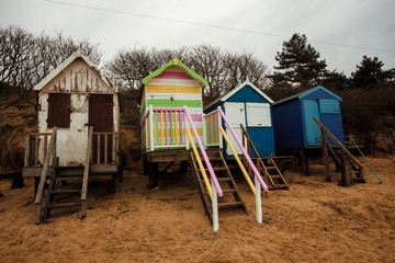 Beach huts on the coast