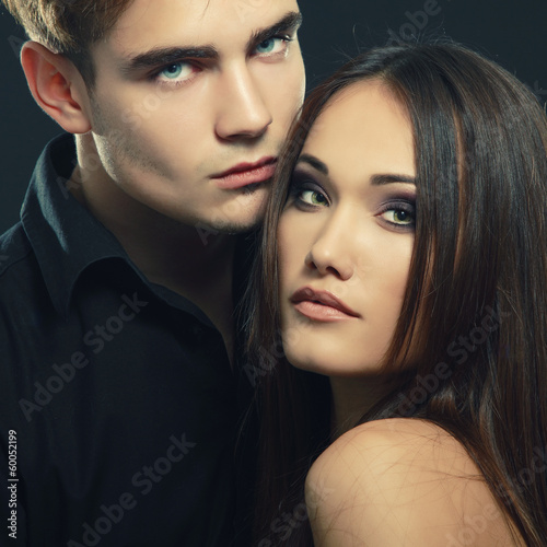 Sexy passion couple, beautiful young man and woman closeup, tone
