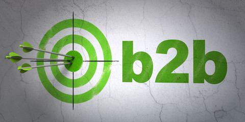 Finance concept: target and B2b on wall background
