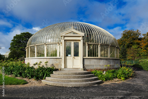 Side entrance to a glasshouse