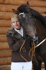 Art portrait nice women with horse