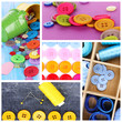 Collage of colorful buttons