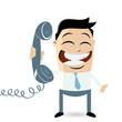 cartoon männchen telefon kontakt