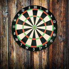 Red bullseye on a dartboard