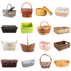 Collage of different wicker baskets