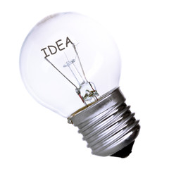 Effective thinking concept. Bulb with innovation idea isolated
