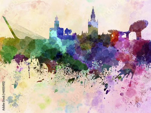 Seville skyline in watercolor background
