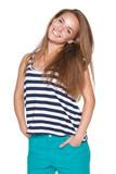 Positive teen girl smiling poster