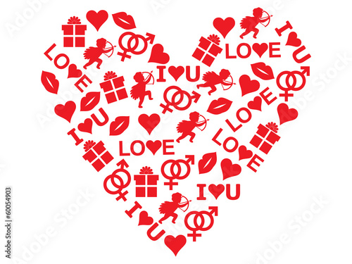 red heart made of Valentines Day icons