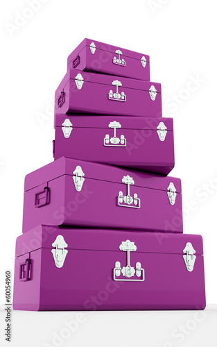 Many pink suitcases isolated