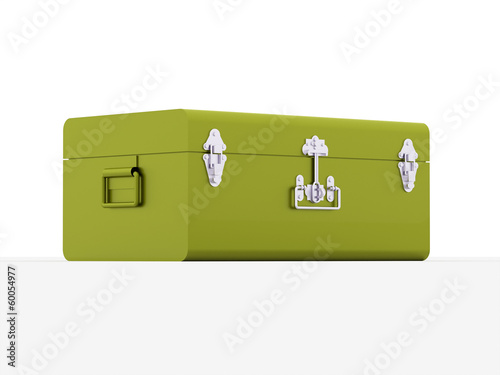 Green travel suite case isolated on white