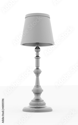 Classic silver vintage lamp rendered on white background
