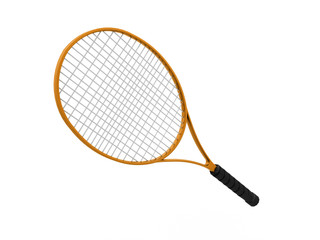 Orange tennis racket isolated on white