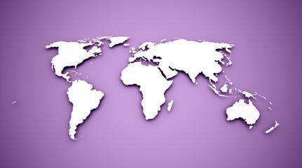 World map on purple