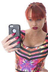 Young Woman Taking Selfy Photograph